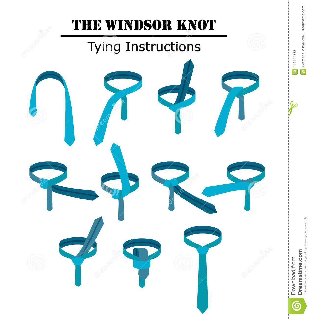 Basic Knot Tying Diagrams A Tie Diagram Windsor Instructions Isolated White Background Guide How To Necktie Flat Illustration Vector