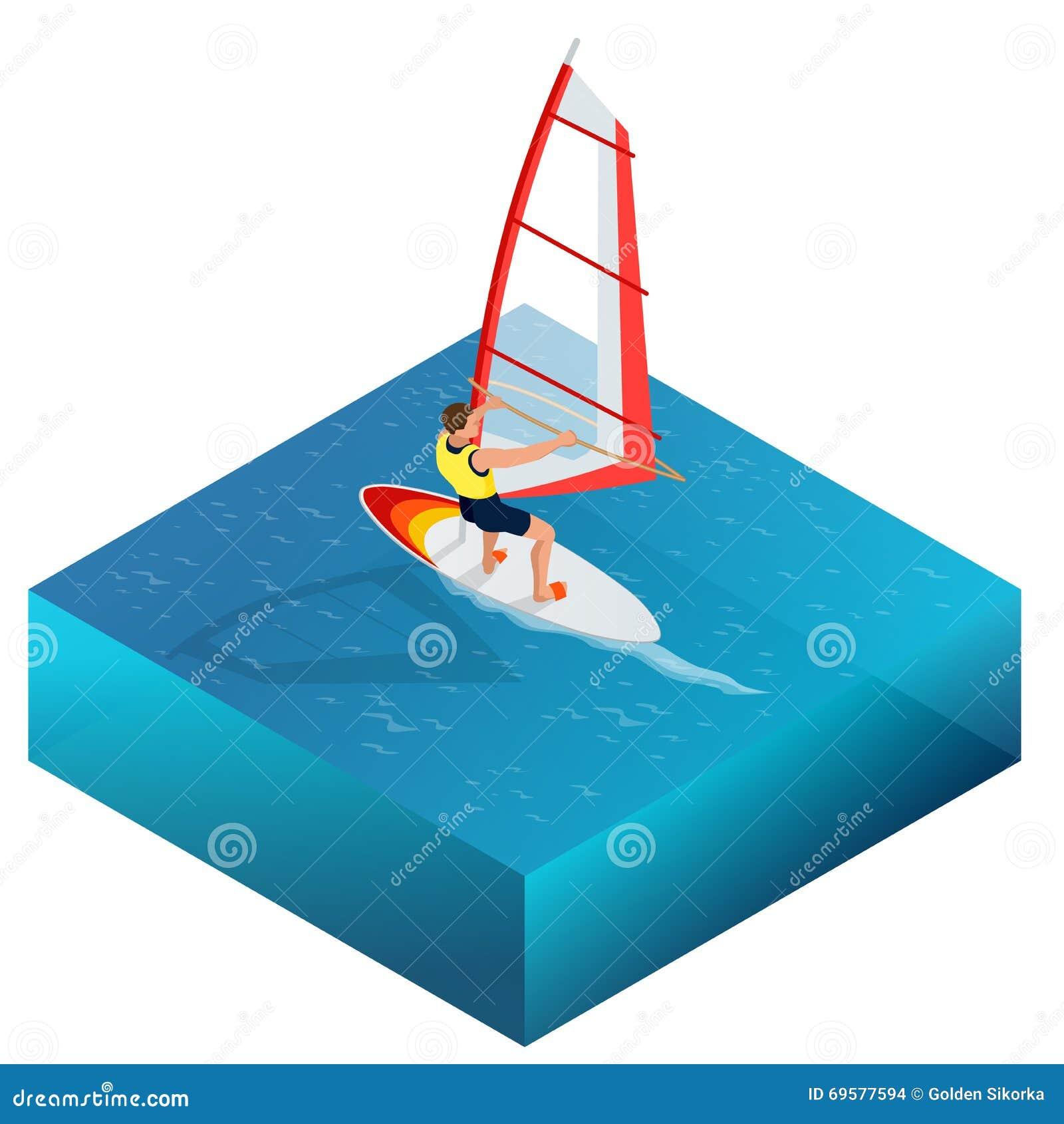 Windsurf, divertimento nell oceano, sport estremo, icona di windsurf, illustrazione isometrica di vettore piano 3d di windsurf