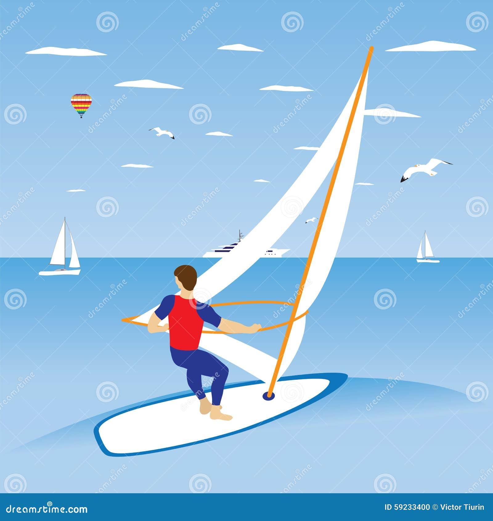 Download Windsurfer en ola oceánica ilustración del vector. Ilustración de resaca - 59233400