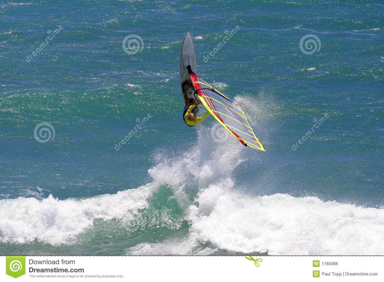 Windsurfing Extreme Action In Hawaii Stock Photo - Image of