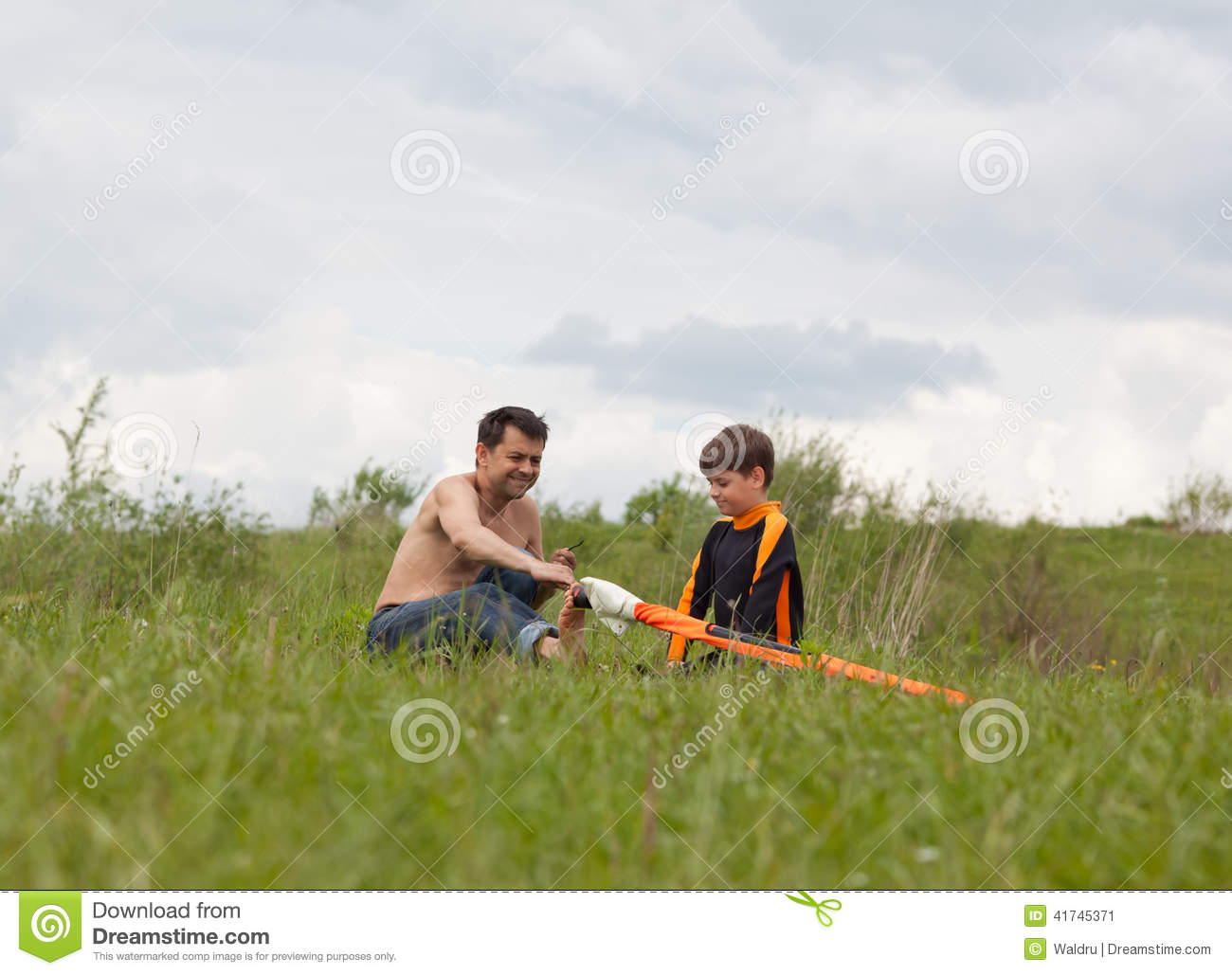 Download Windsurfing lesson stock image. Image of grass, europe - 41745371