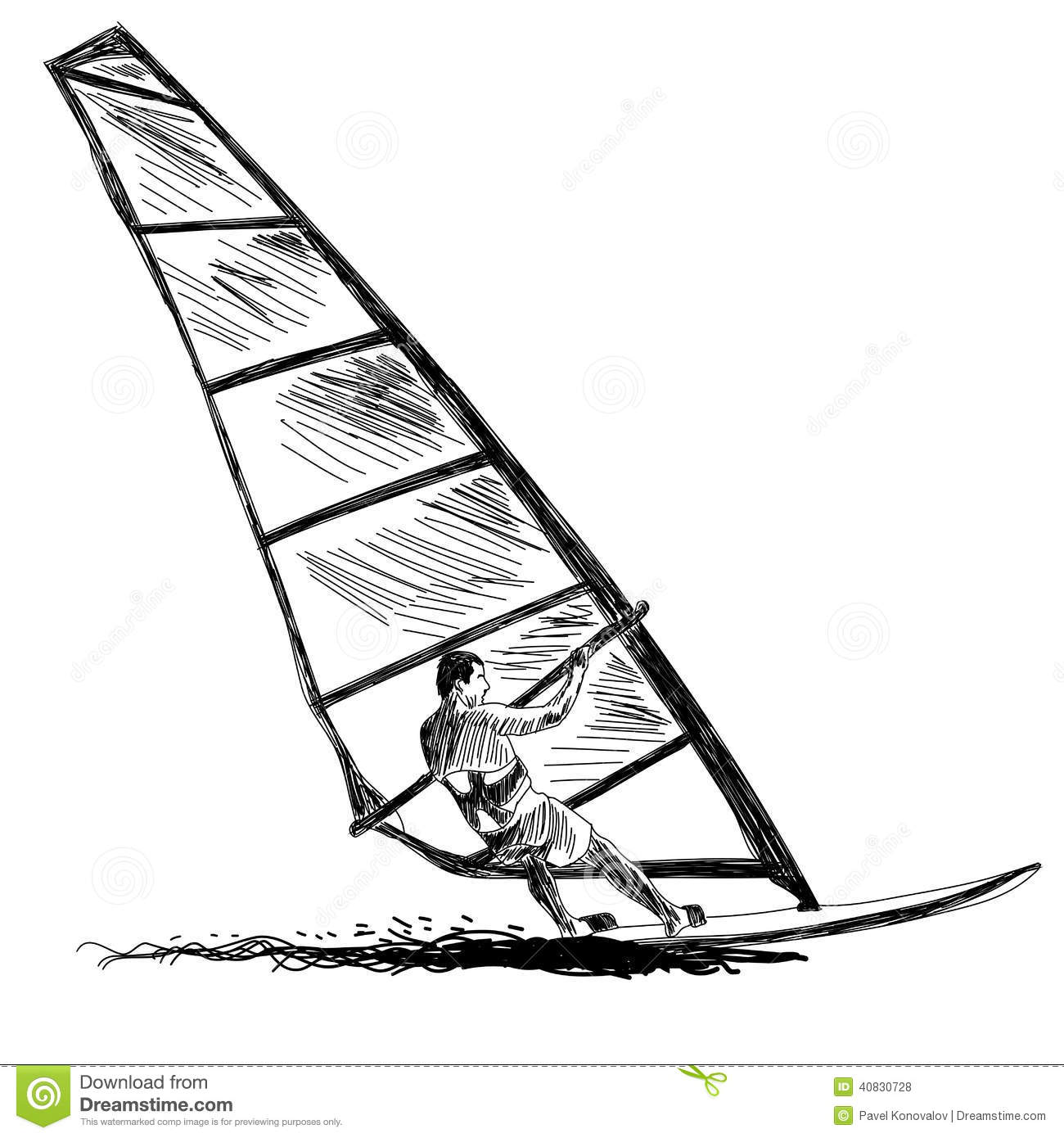 Windsurfing Sketch Vector EPS 10 Illustration Without Transparecy And Meshes Royalty Free Stock Photos