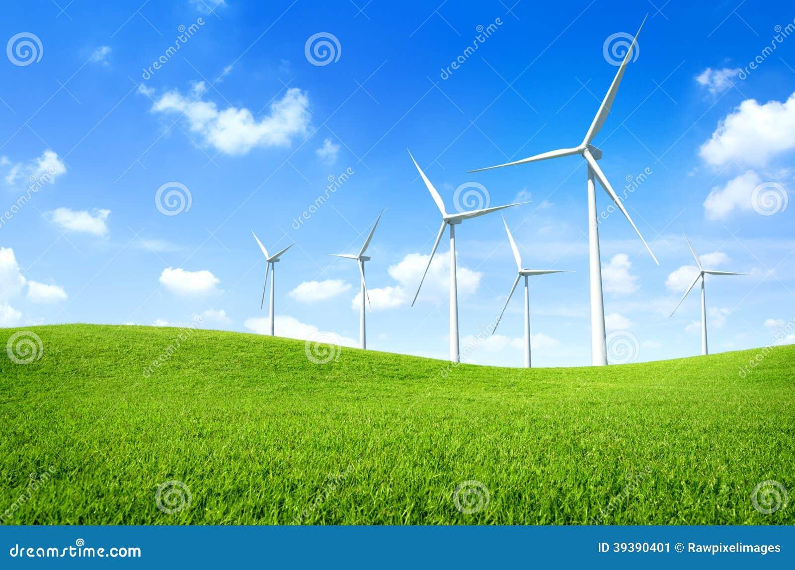 Windturbine op een groen gebied