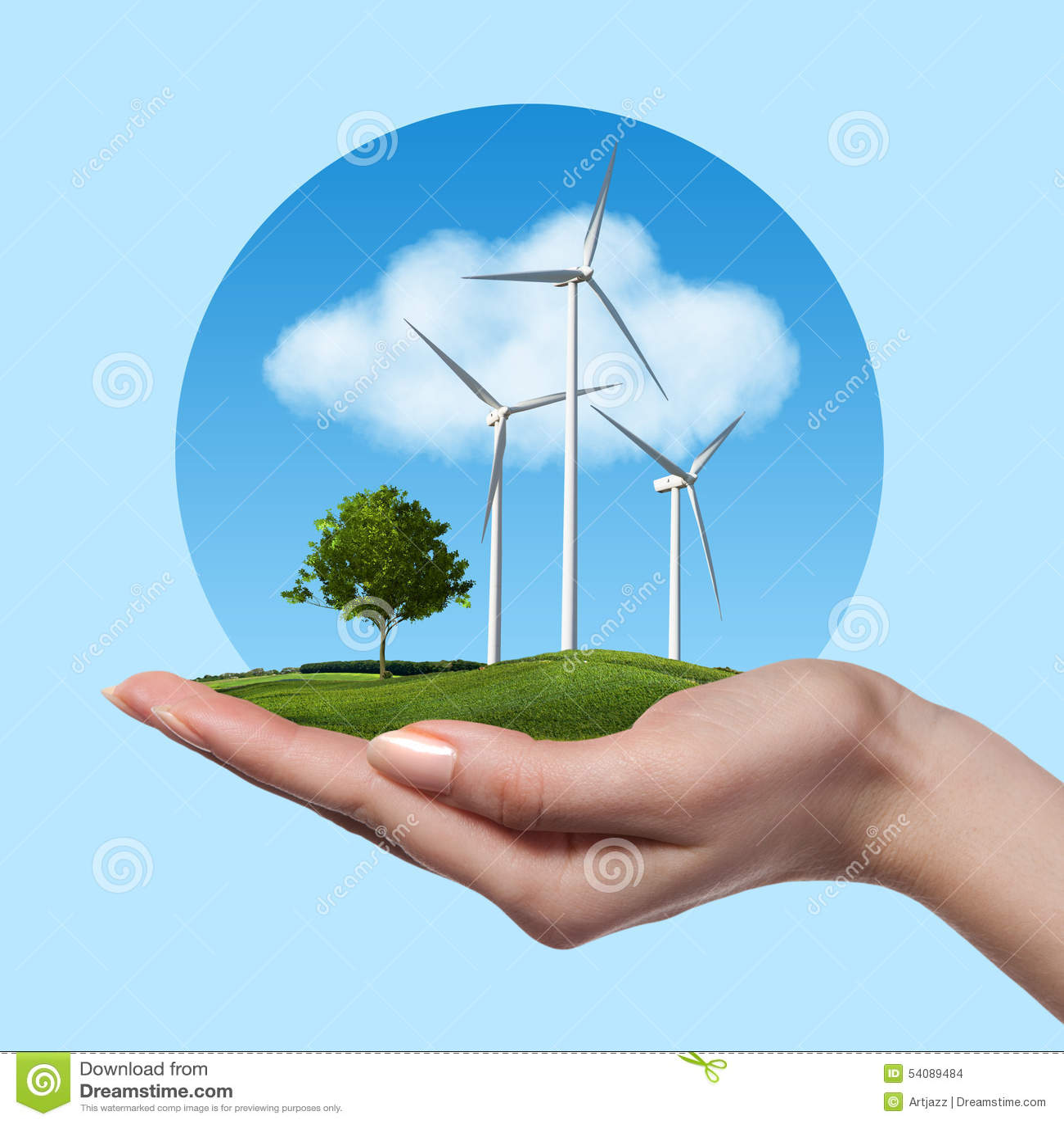 Windturbines met boom in vrouwelijke hand
