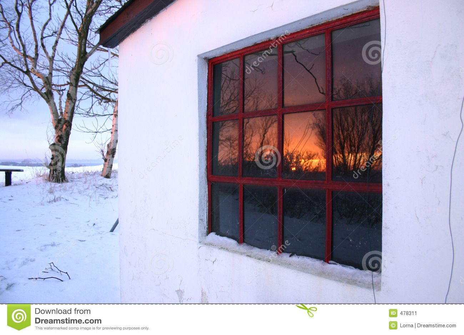 Windw de l hiver de coucher du soleil