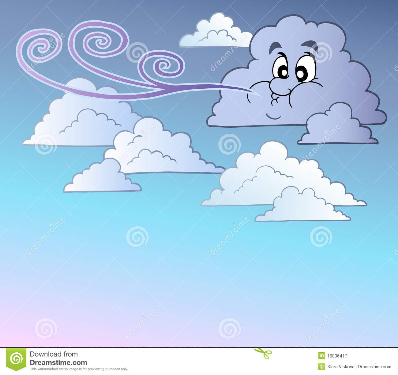 Windy Sky With Cartoon Clouds Royalty Free Stock Photography - Image ...