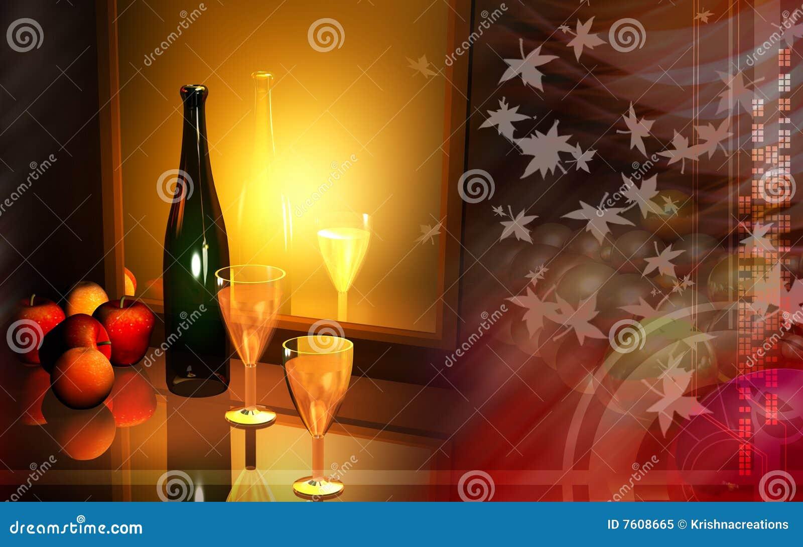 Wine and apple
