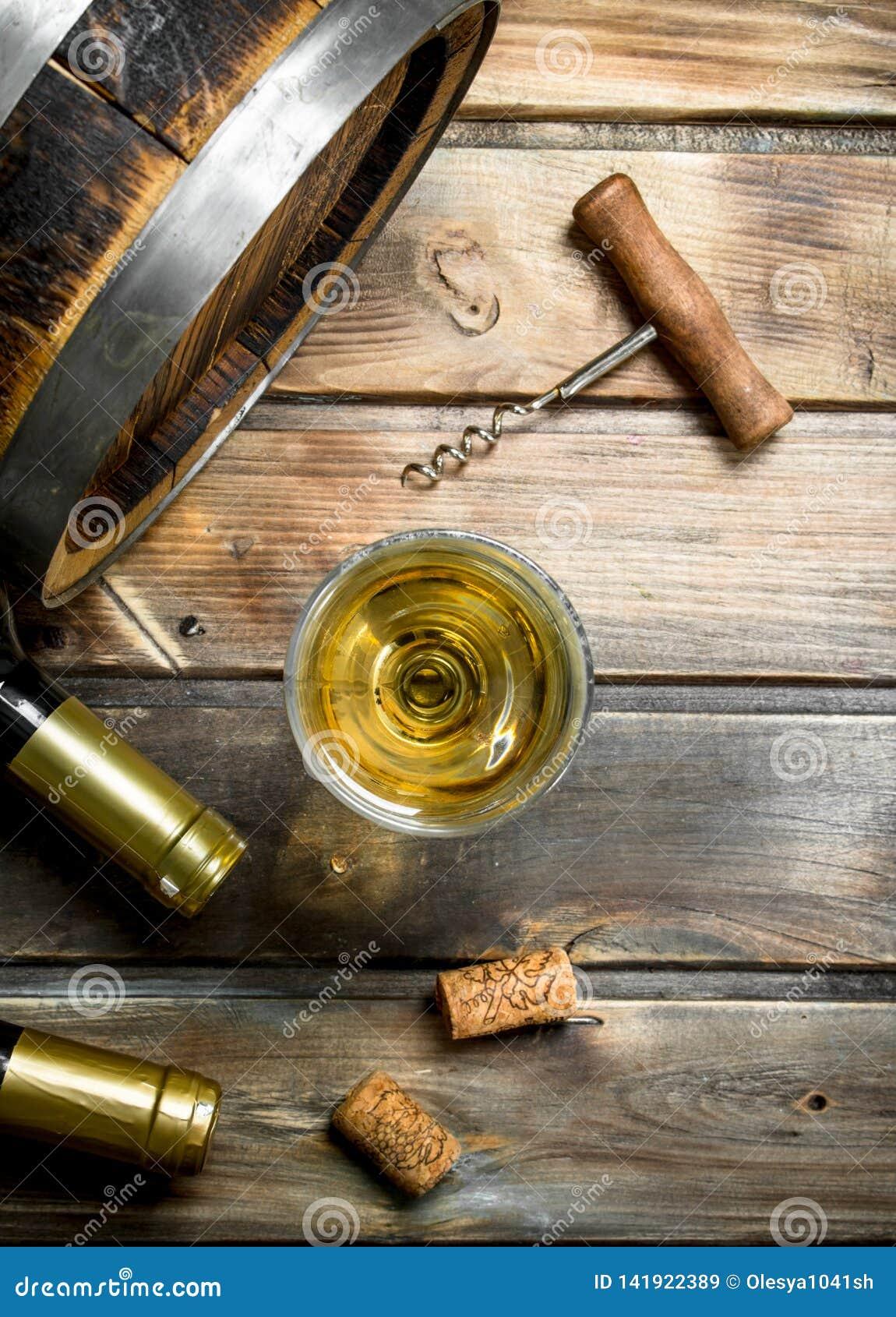 Wine background. Barrel of white wine