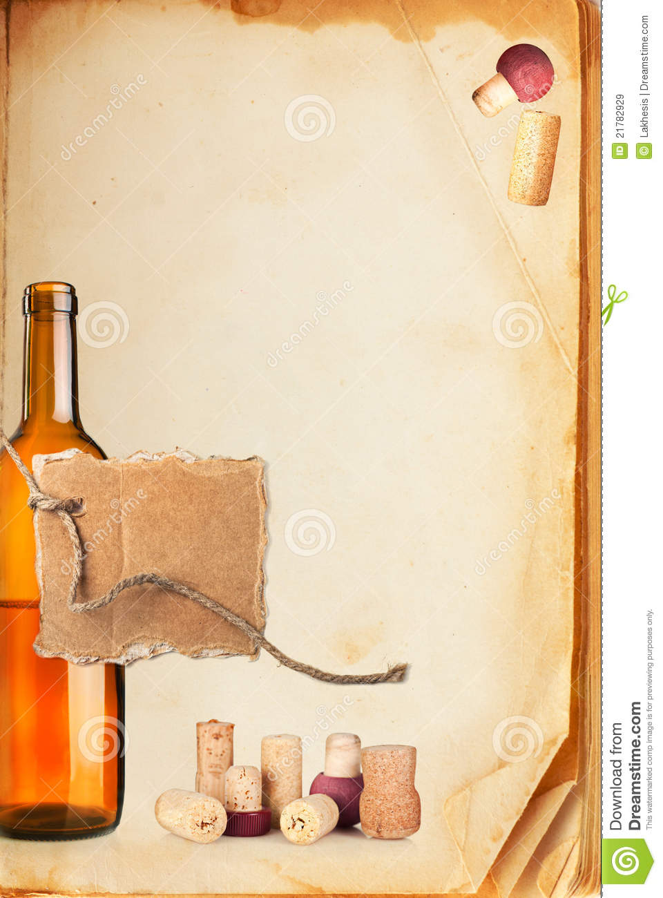Wine bar list menu. Old book page, bottle of wine, cork and cardboard ...