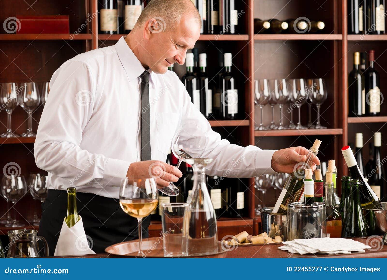 Wine Bar Waiter Happy Male In Restaurant Royalty Free