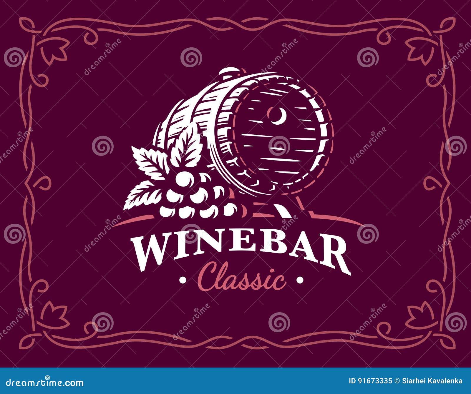 Wine barrel logo - vector illustration, emblem on maroon color background