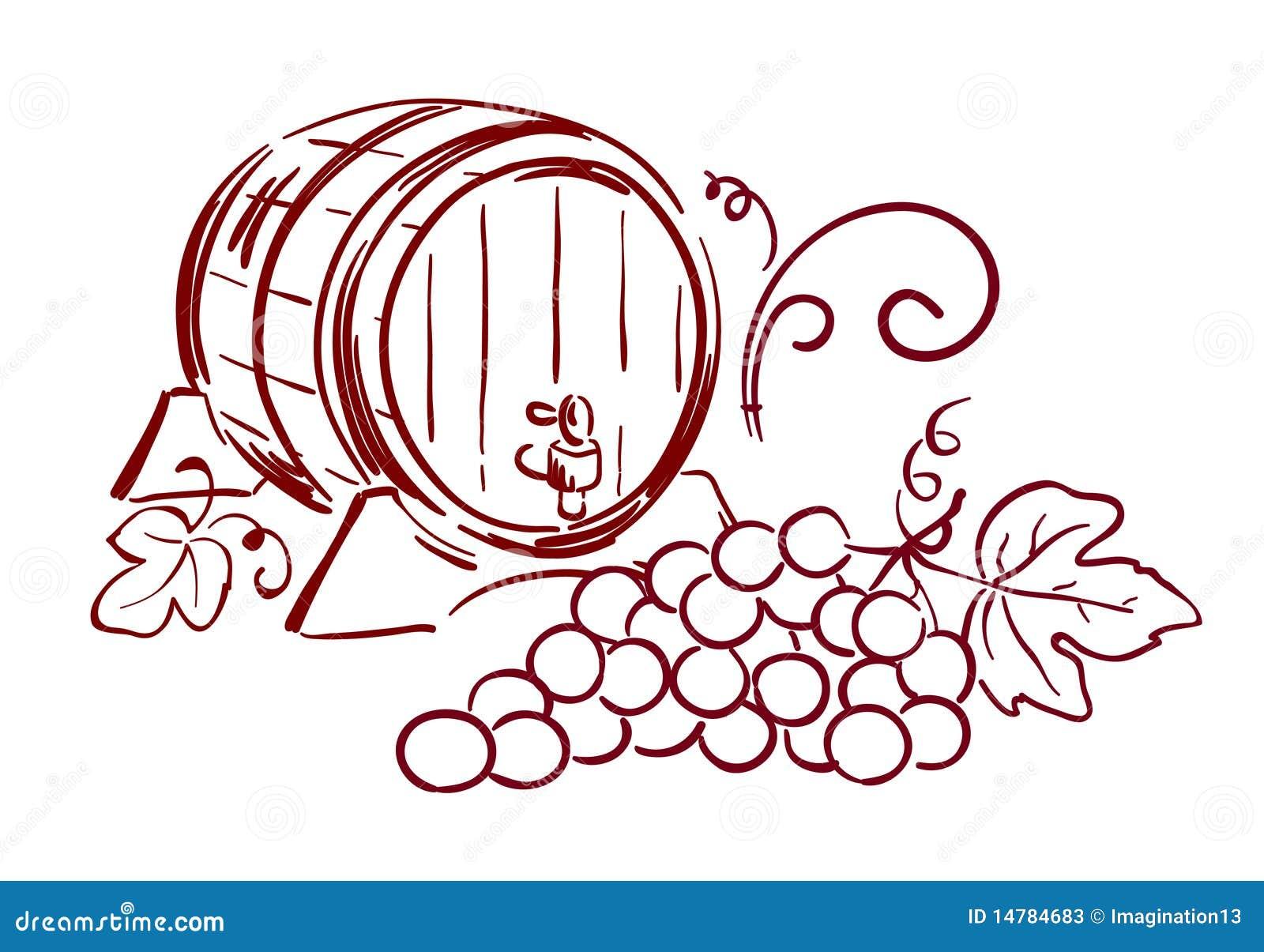 Рисунок на бочке с вином