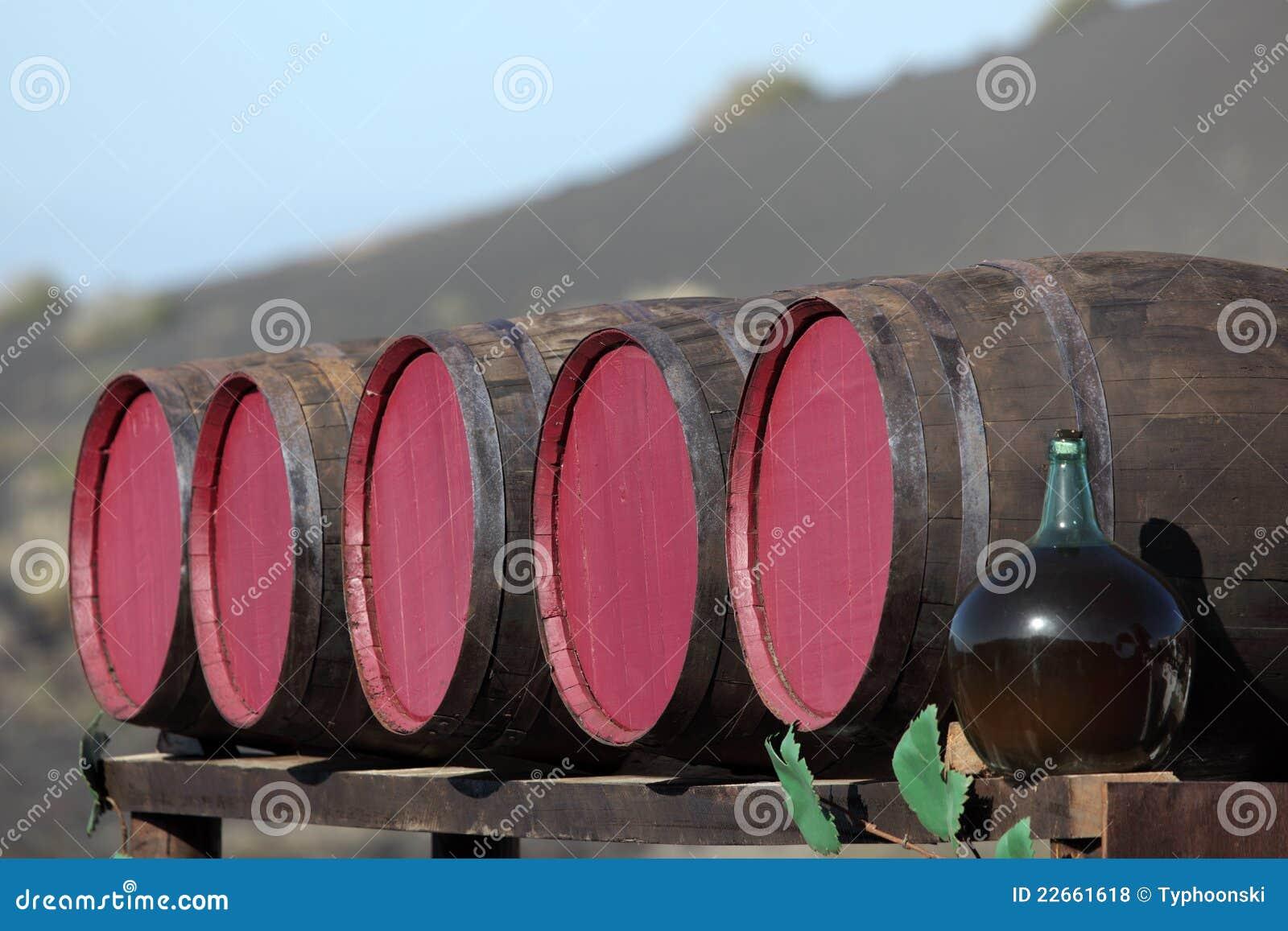 Wine barrels at a bodega