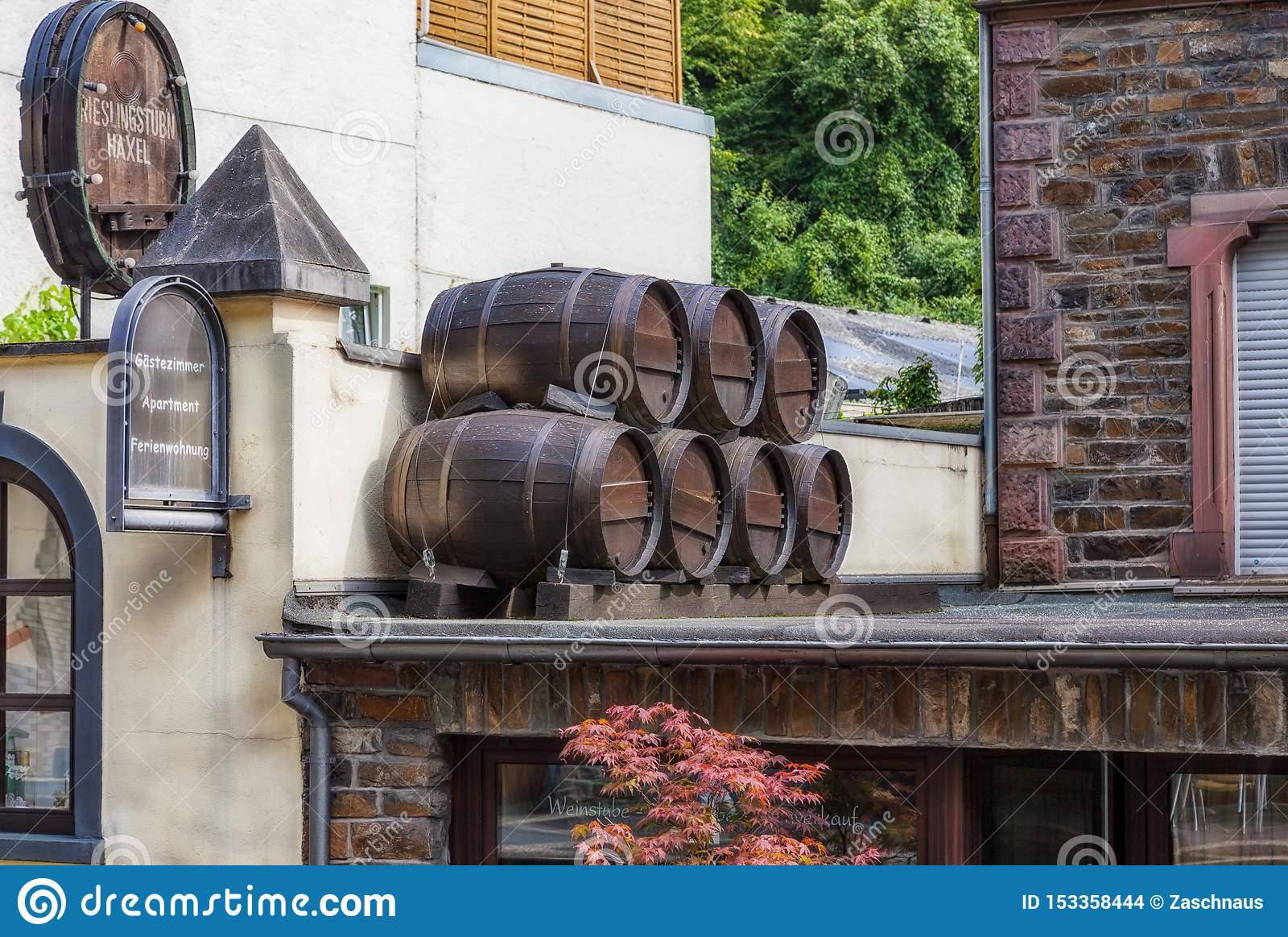 Wine Barrels On The Canopy Of A Hotel And Wine Bar In The City Of Cochem At The Mosel In Germany Editorial Stock Image Image Of Barrel Barrels 153358444