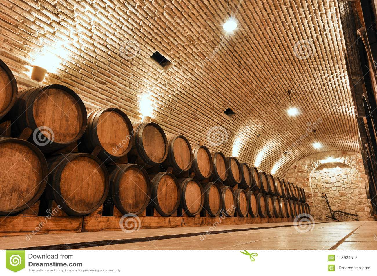 Basement Of A Winery With Wooden Barrels Stock Photo Image Of White Vintage 118934512