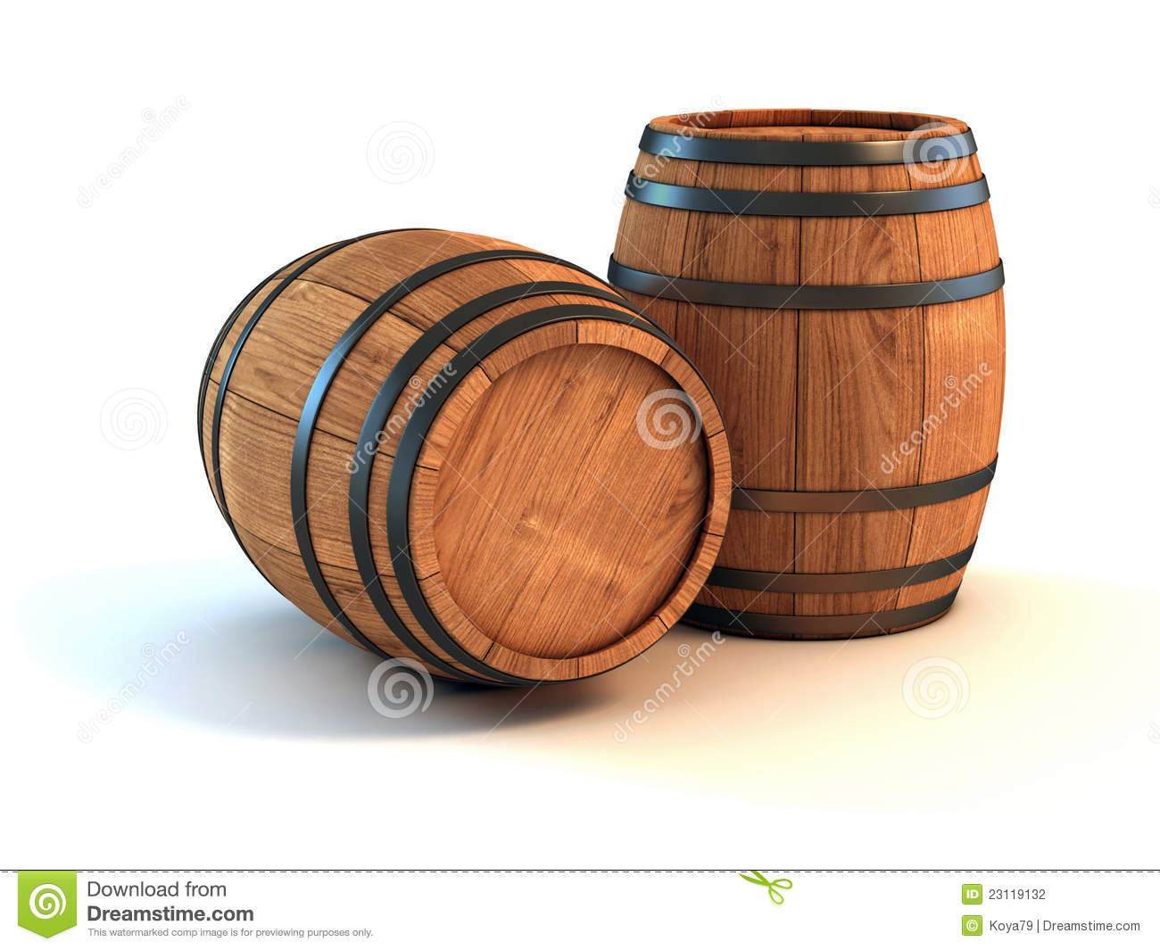 Wine barrels over white background stock illustration - Barriles de vino ...