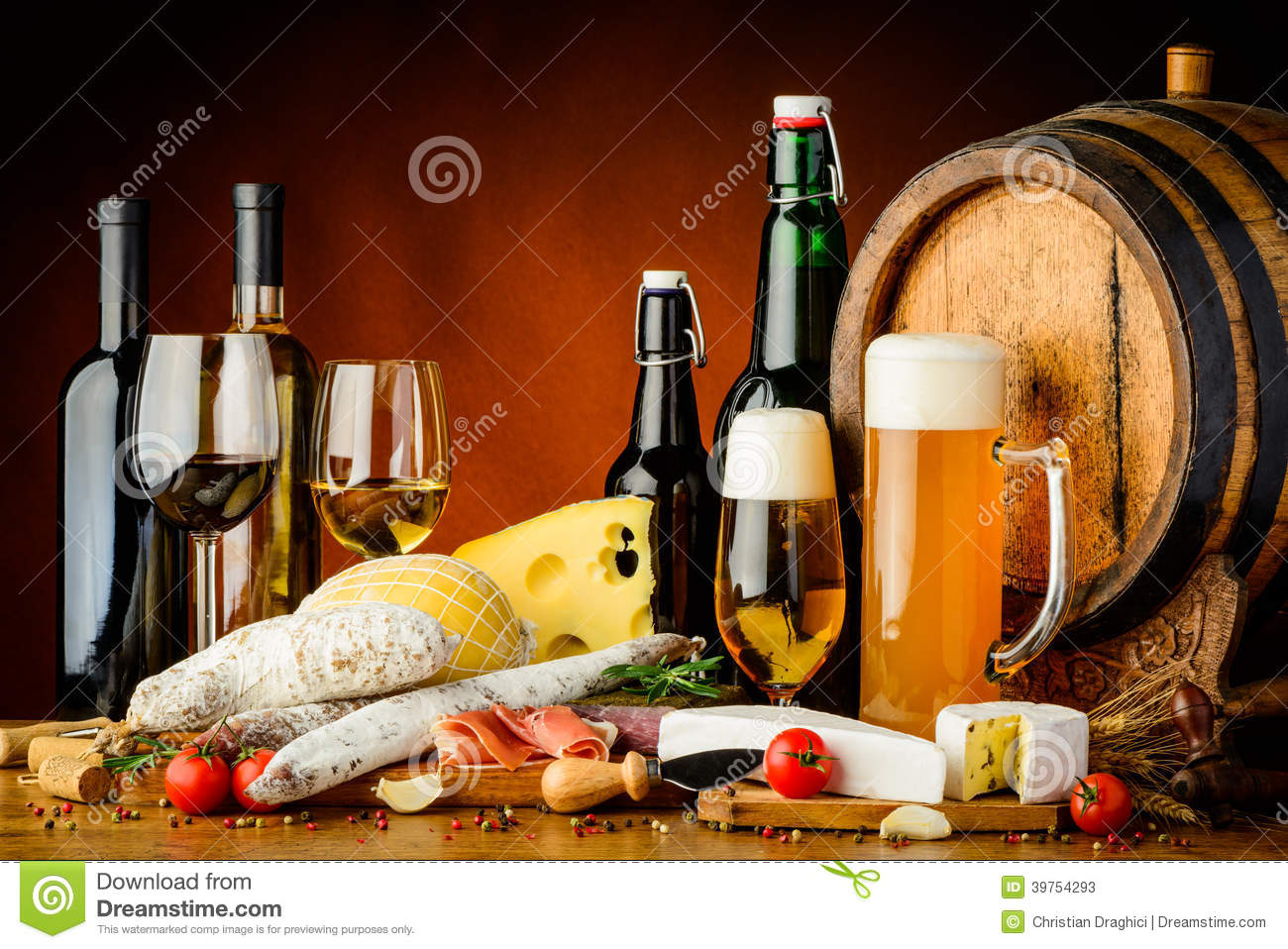 Wine beer and food stock image image of food snack for Cuisine wine