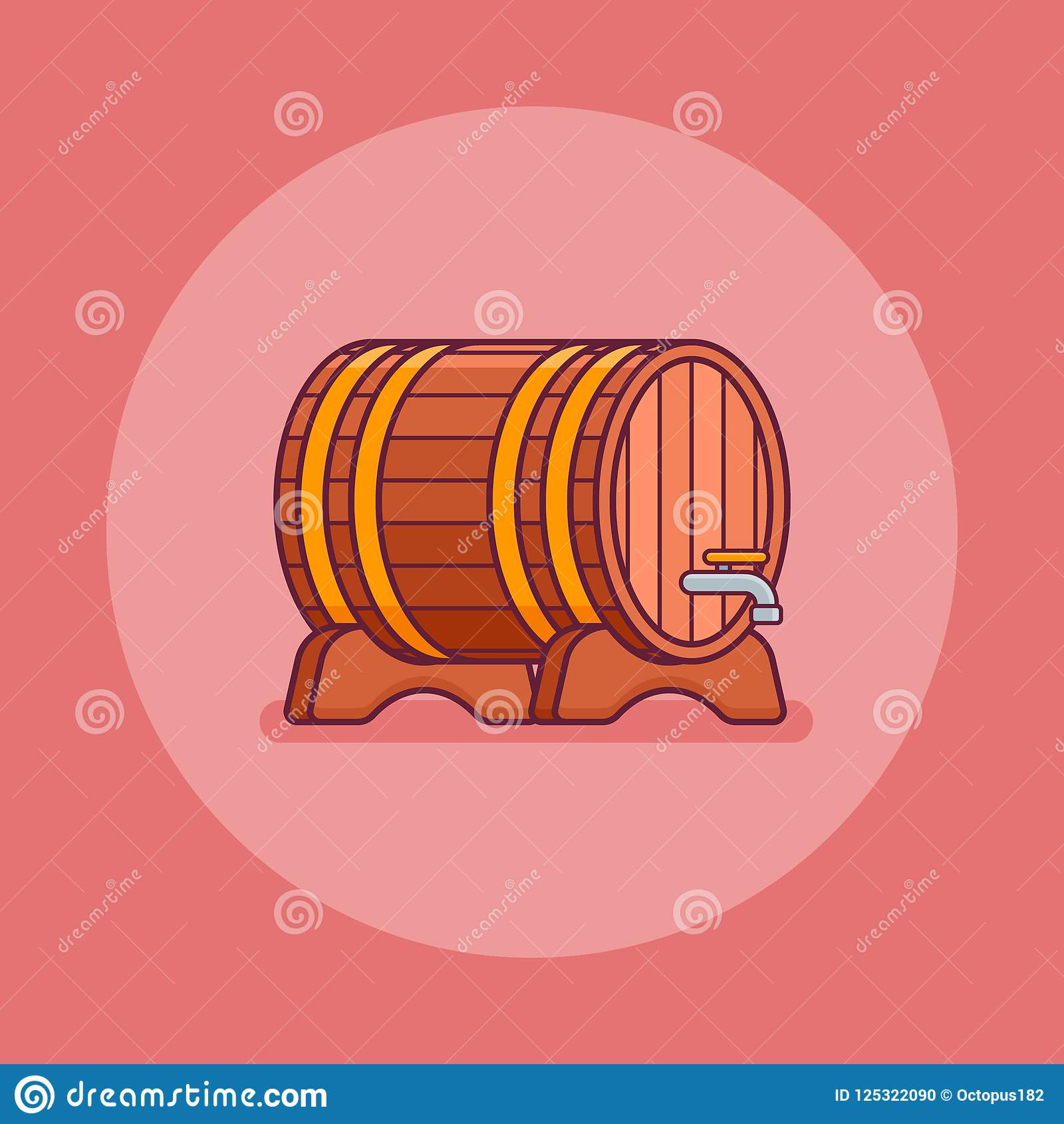 Wine Or Beer Wooden Barrel Flat Line Icon Vector Illustration Stock Vector Illustration Of Liquid Graphic 125322090