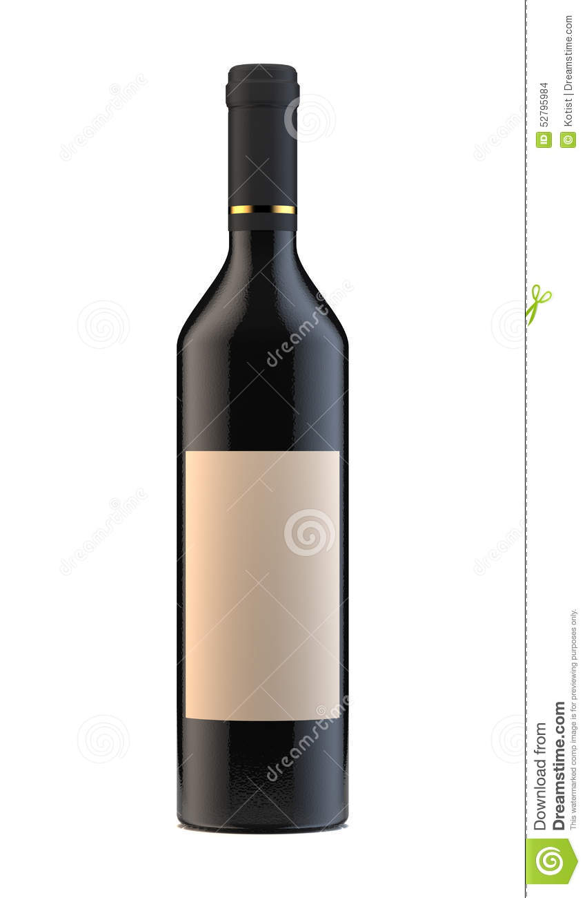 Wine Bottle With Blank Label On White Background Stock ...