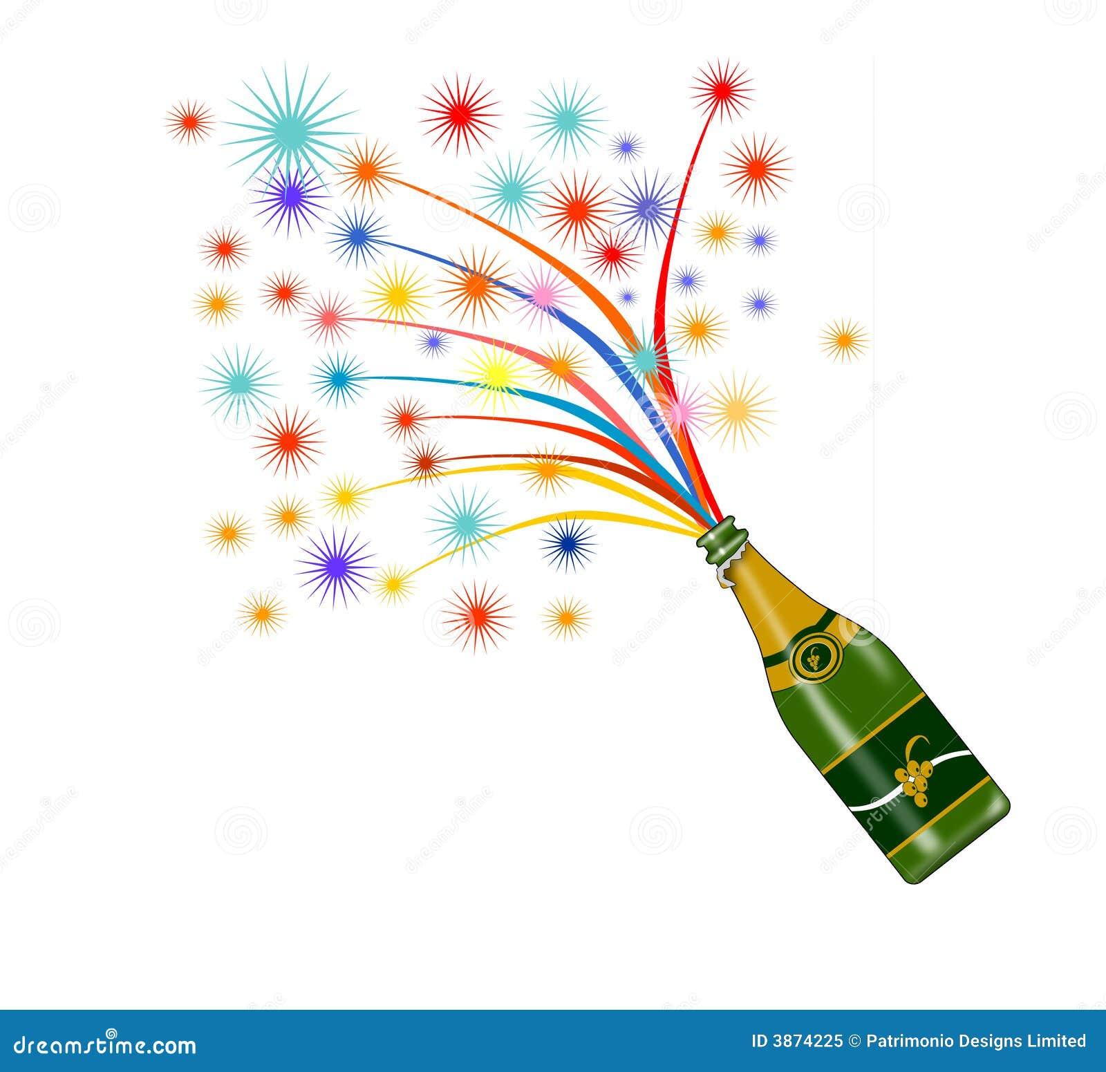 Wine Bottle With Fireworks Royalty Free Stock Photo - Image: 3874225