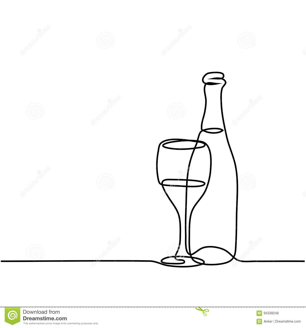 Line Drawing Glasses : Champagne bottle outline wine glass and
