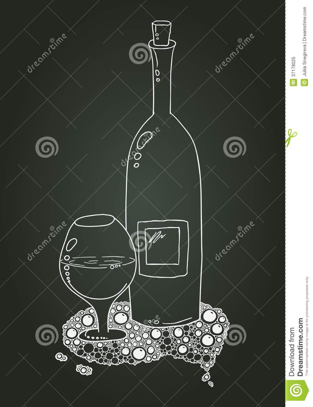 Wine Bottle And Glass With Doodle Chalk Sketch Royalty