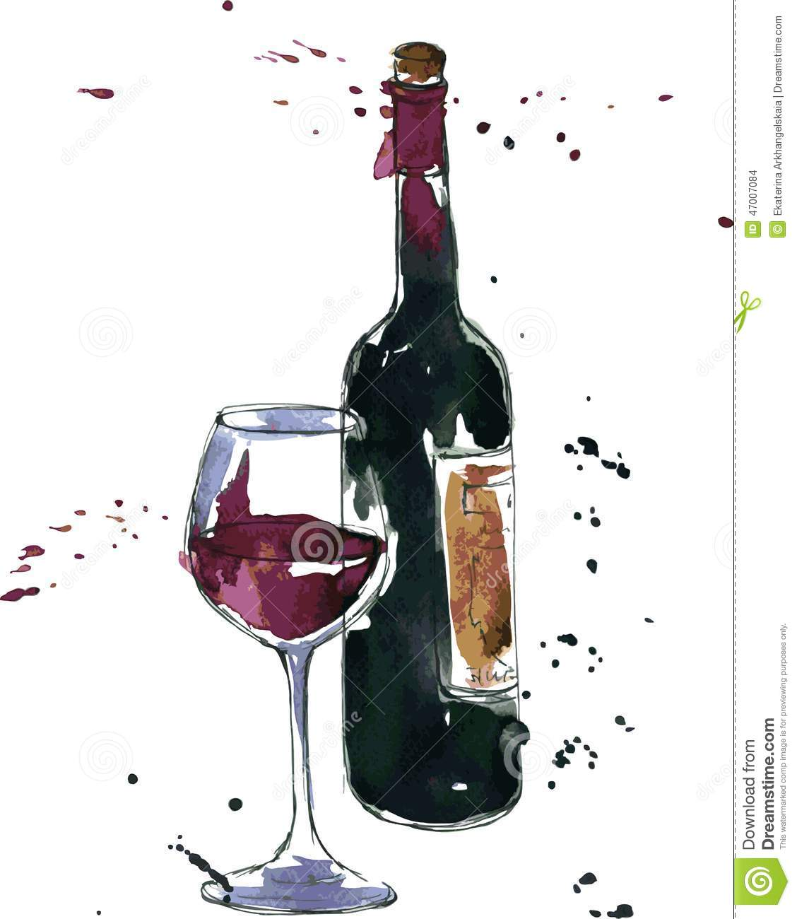 Wine Bottle And Glass Stock Vector - Image: 47007084
