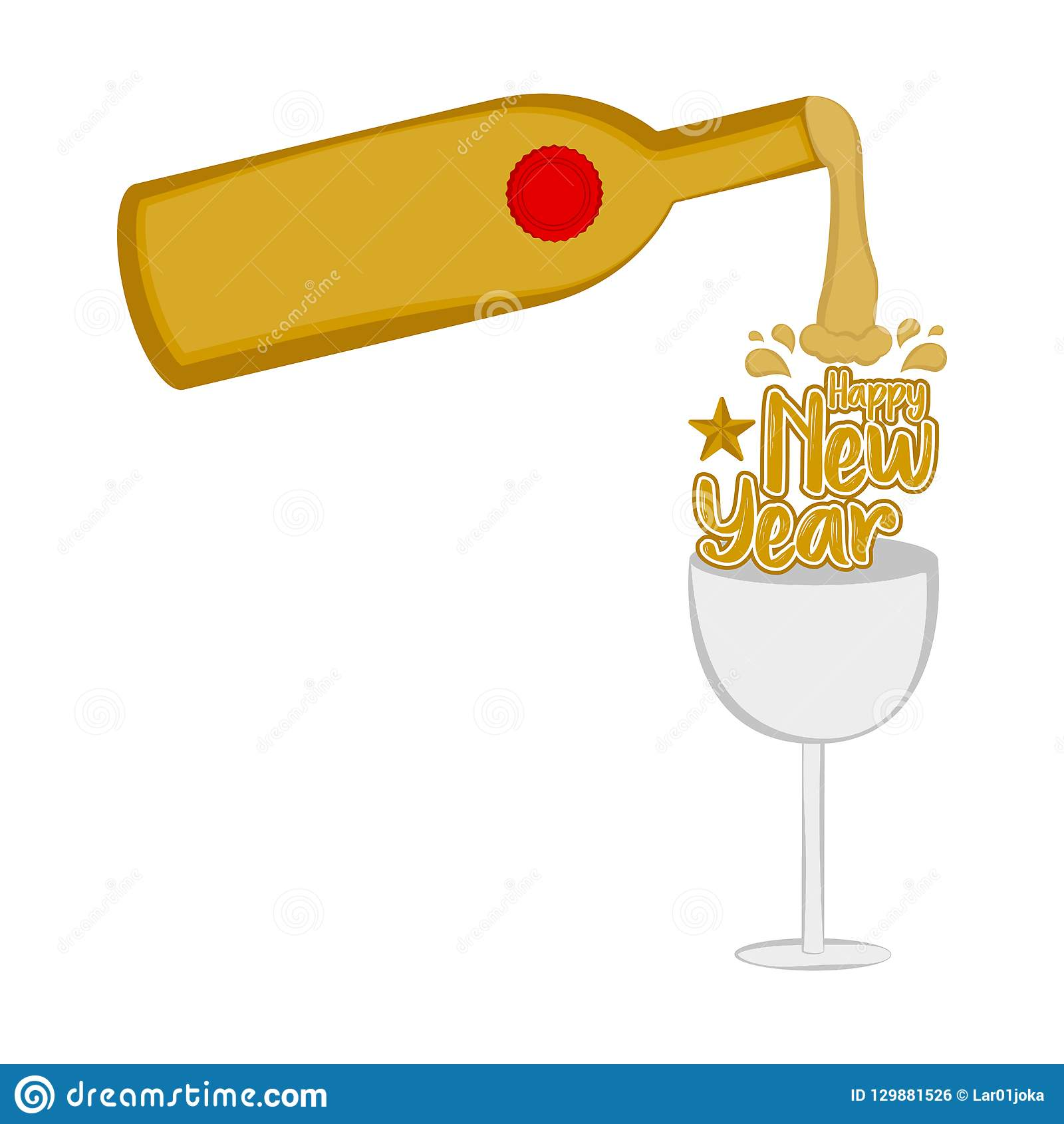 wine bottle and a glass happy new year vector illustration design