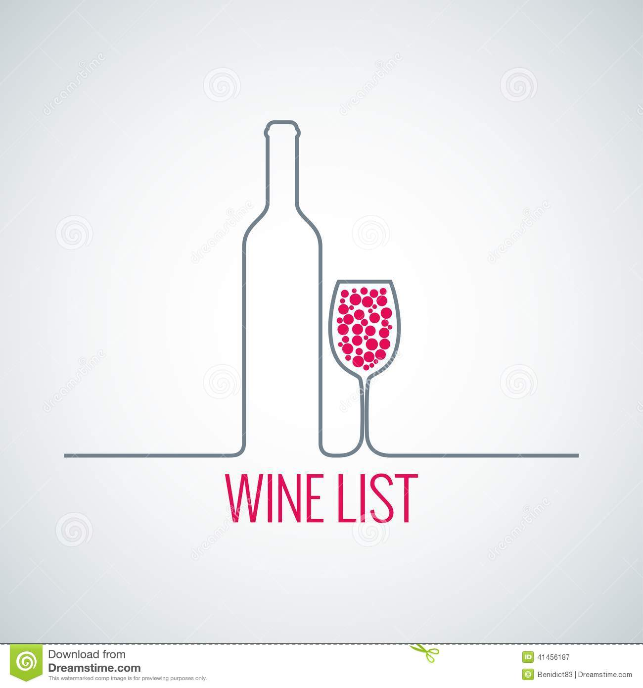 wine bottle glass list menu background stock vector - illustration