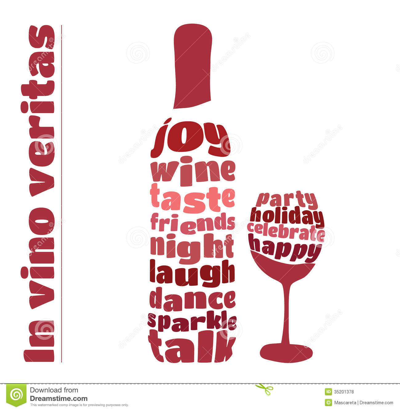 Wine Bottle And Glass In Typography Style Royalty Free ...