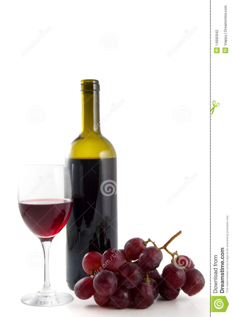 Wine bottle grapes and glass stock photography image for Wine bottle glass