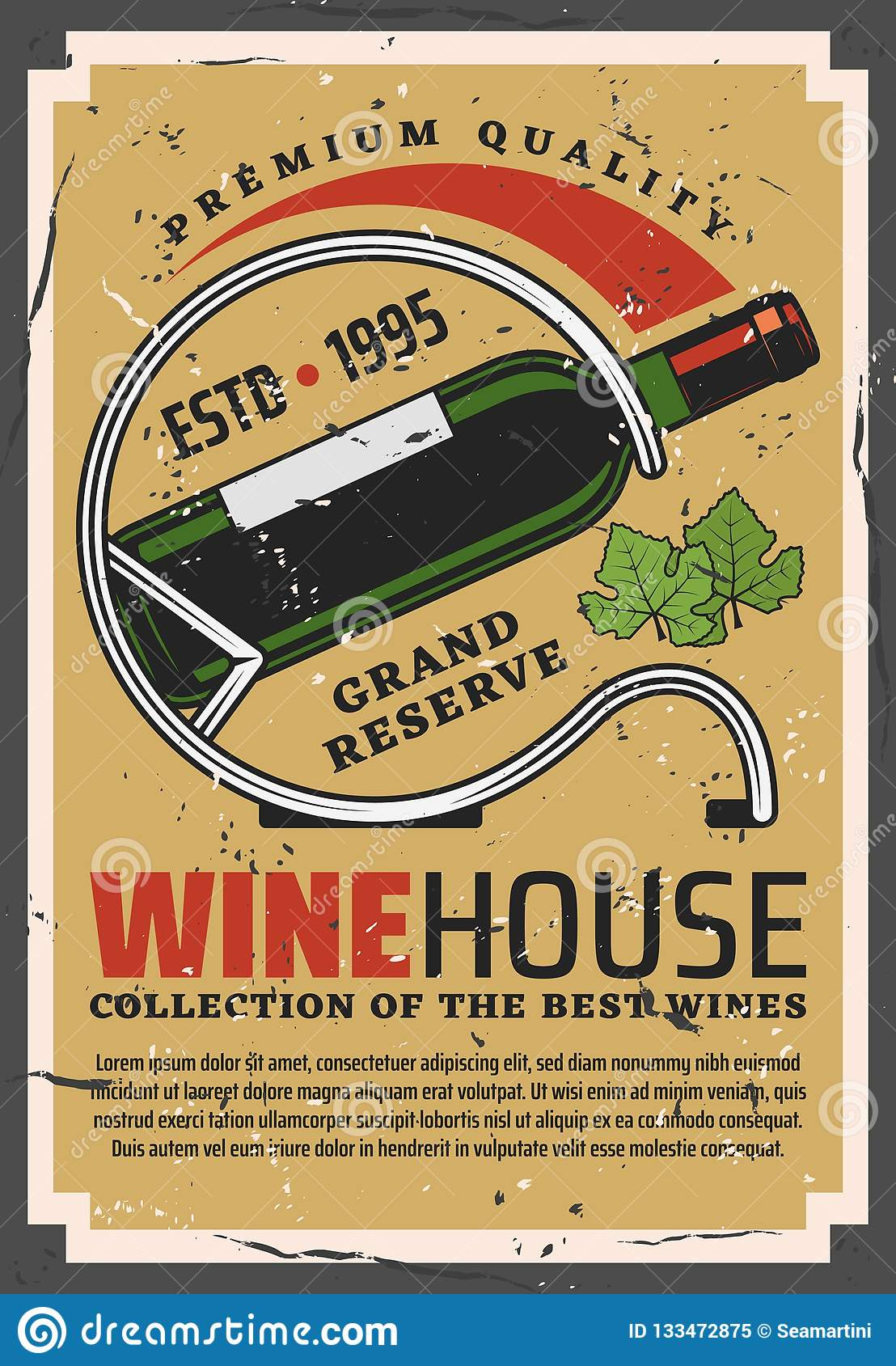 Winehouse retro poster with wine bottle on stand
