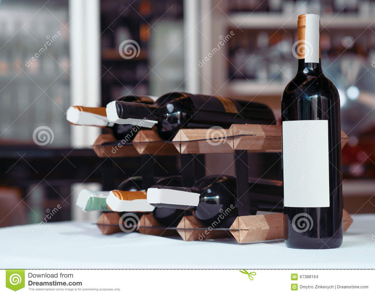 Wine Bottle Standing On The Table Stock Photo Image Of Natural