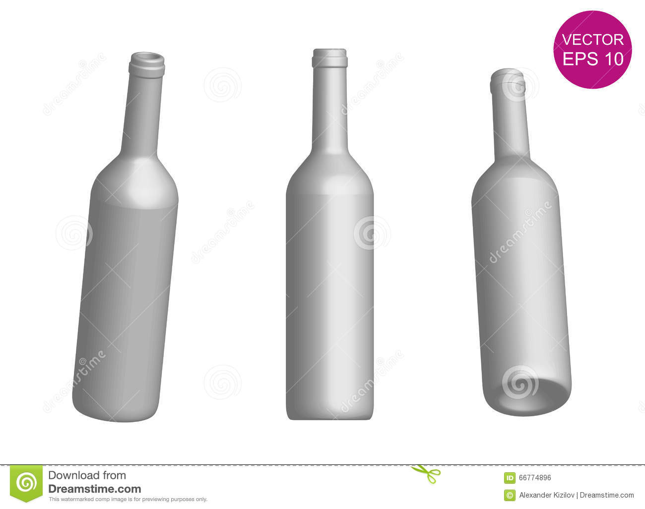 Wine bottle template. 3D. Vector Illustration. EPS10
