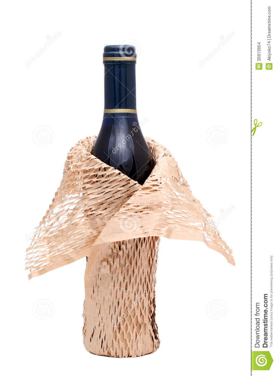 wine bottle with wrapping paper stock photo