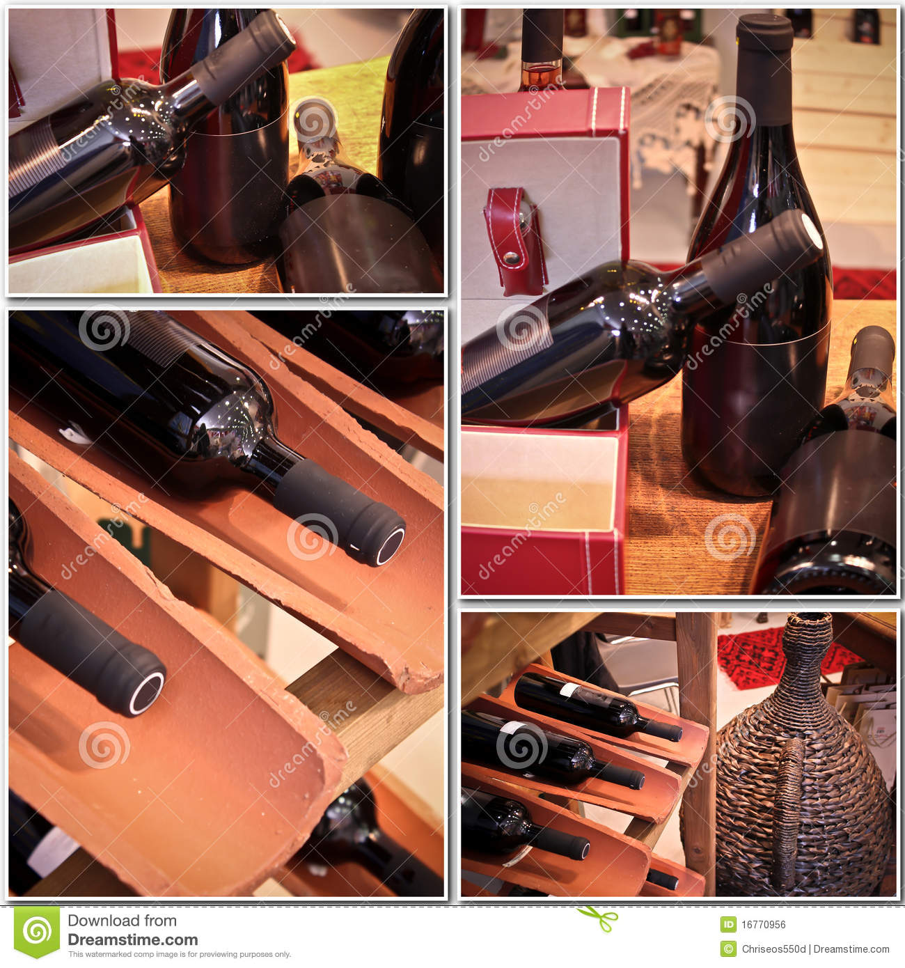Wine bottles in a collage