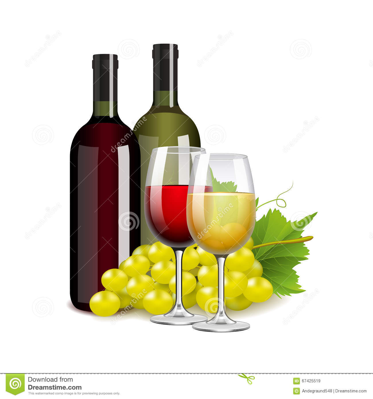 Wine Bottles Glasses And Grapes On White Vector Stock ...