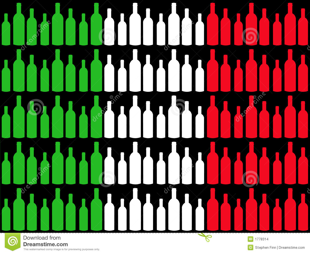Wine Bottles And Italian Flag Stock Images - Image: 1778314