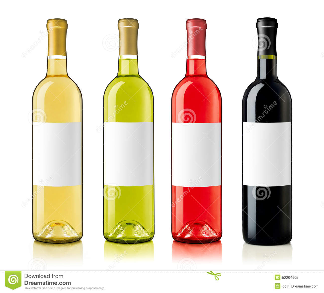 Wine Bottles With Labels Stock Photo - Image: 52204605