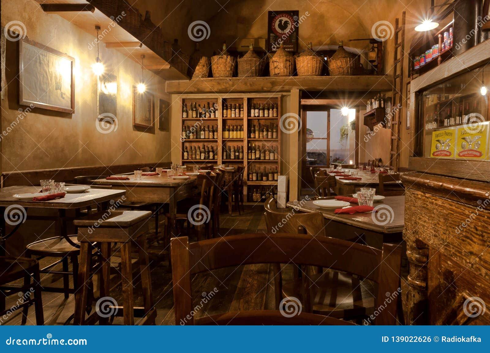 Wine Bottles And Wooden Vintage Furniture Inside Traditional Italian Restaurant Editorial Photo Image Of Dinner Restaurant 139022626