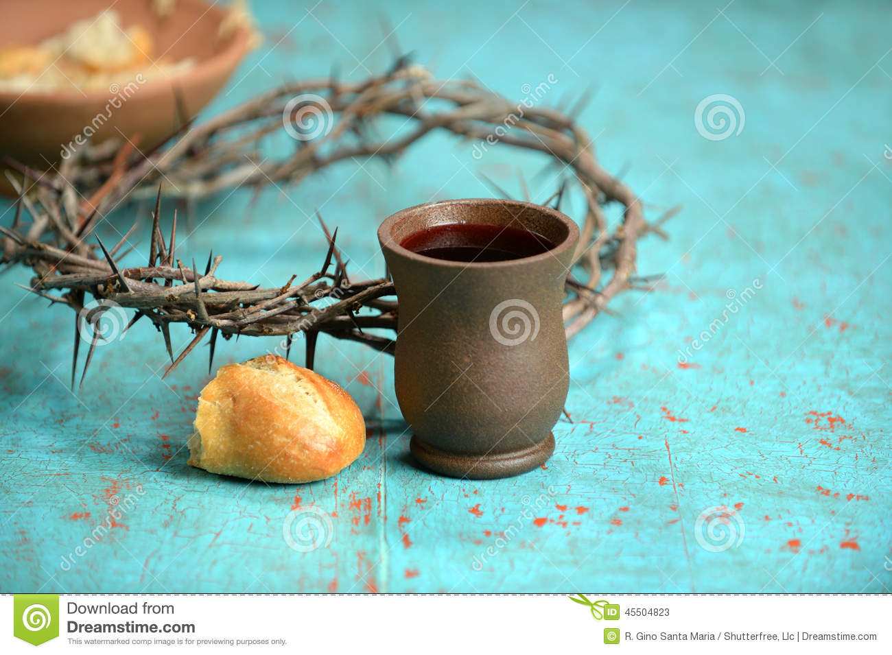 Wine Bread And Crown Of Thorns Stock Photo Image 45504823