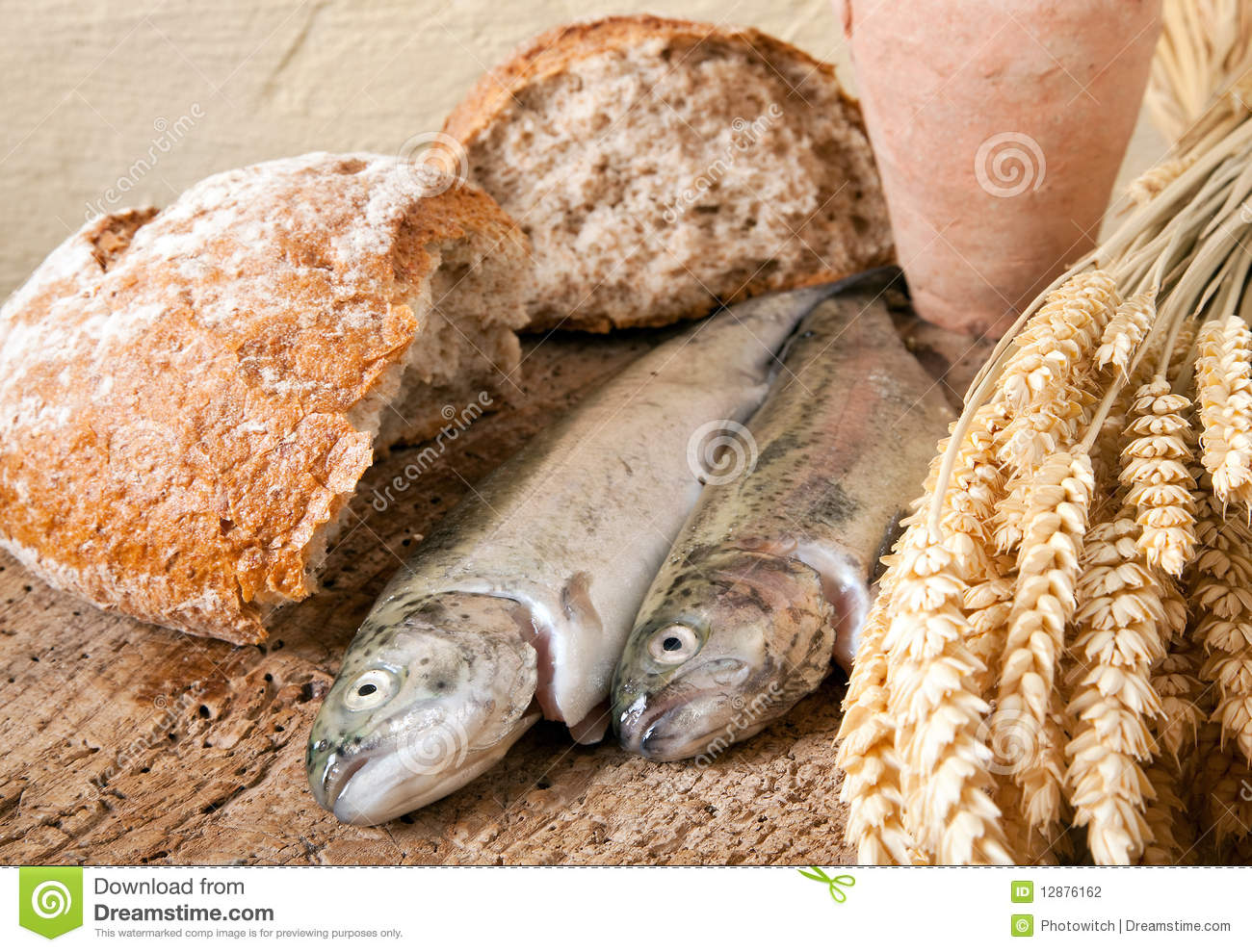 Wine bread and fish stock photo image of dead basket for Fishing with bread