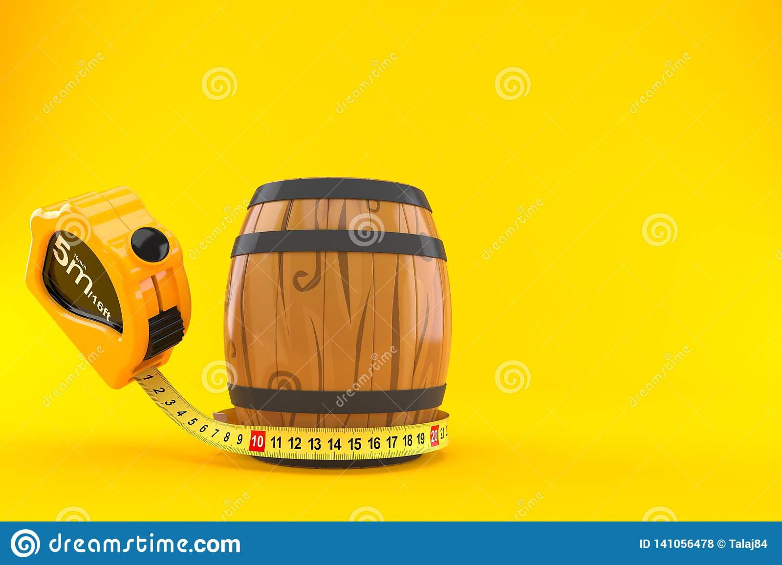 Wine cask with measuring tape