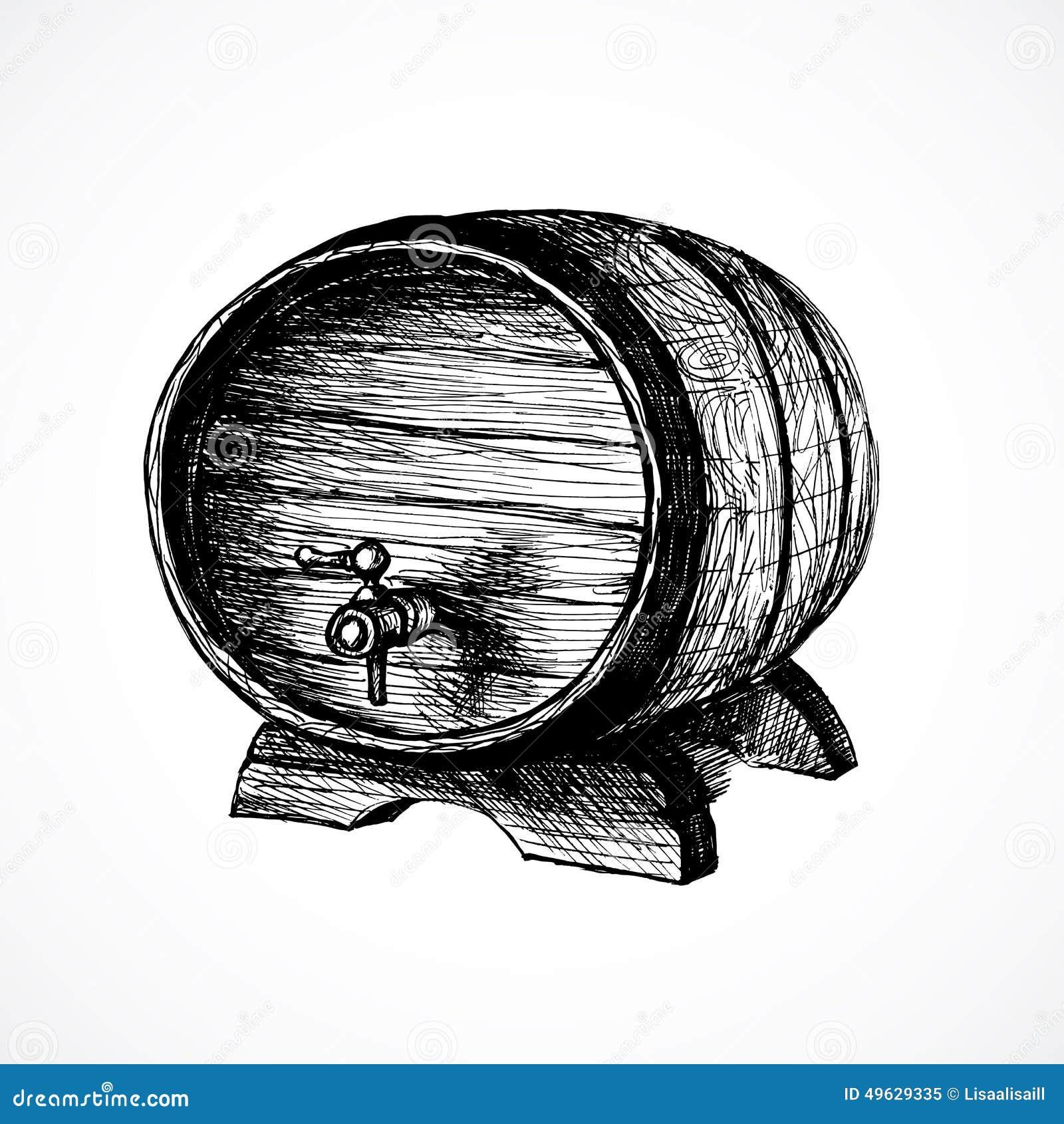Wine Cask Sketch And Vintage Illustration Stock Vector ...