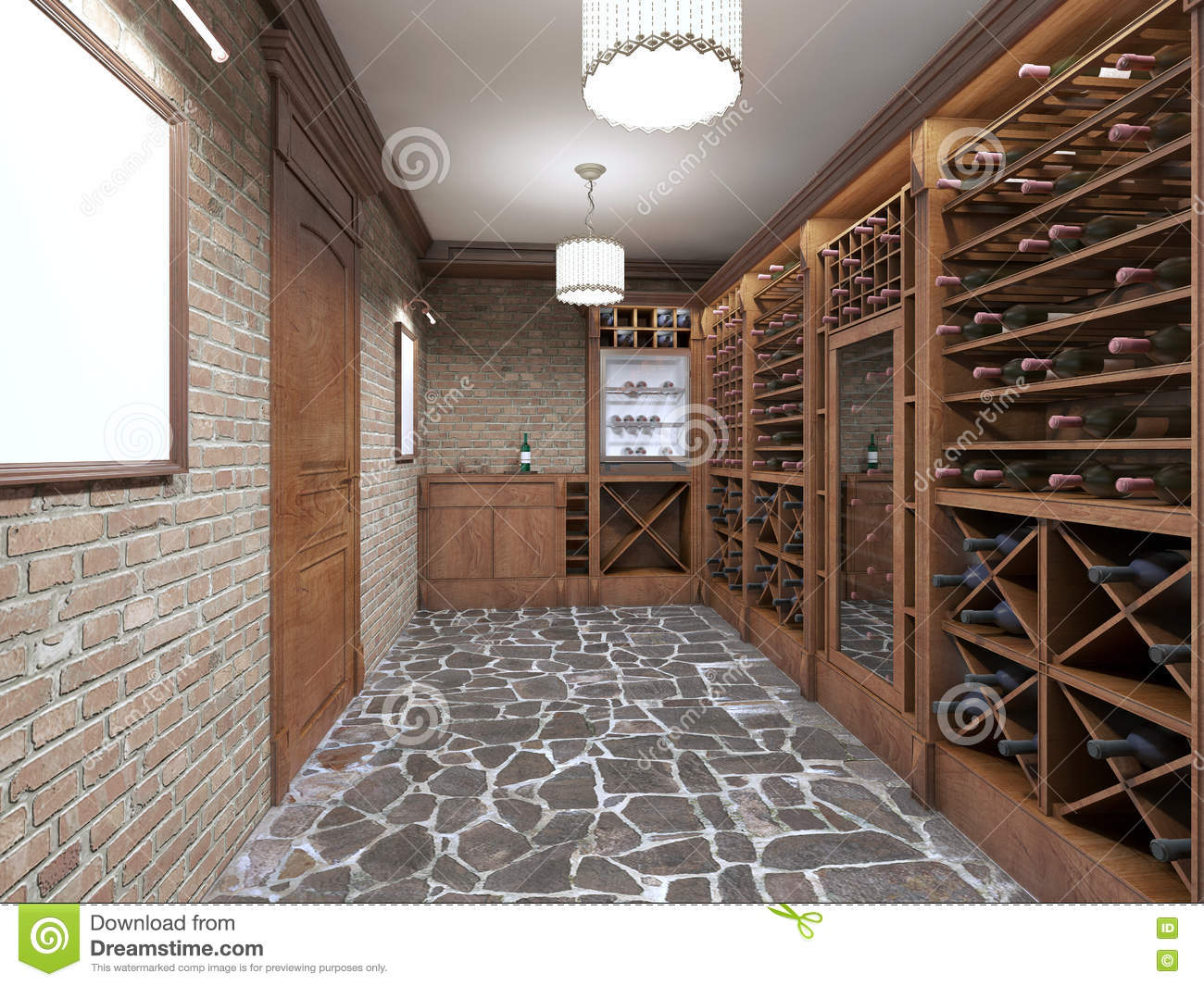 Wine Cellar In The Basement Of The House In A Rustic Style Stock Illustration Illustration Of Beverage Room 79487386