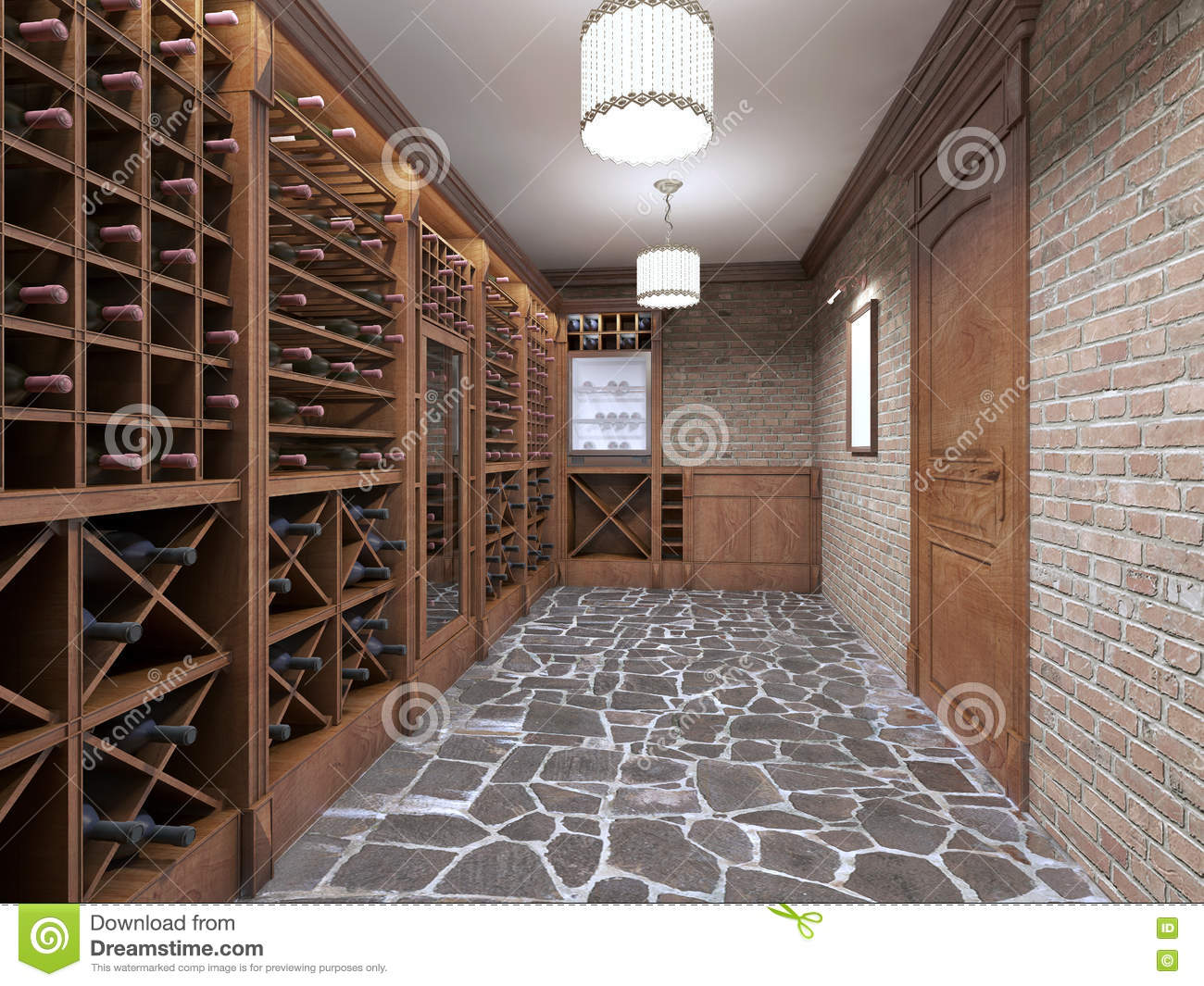 Wine Cellar In The Basement Of The House In A Rustic Style Stock Illustration Illustration Of House Storage 79503305