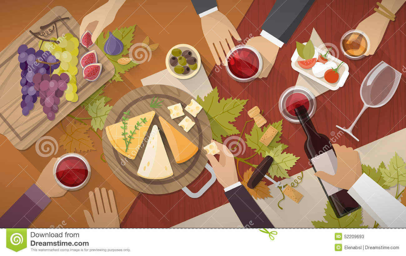 Wine And Cheese Tasting Stock Vector Image 52209693
