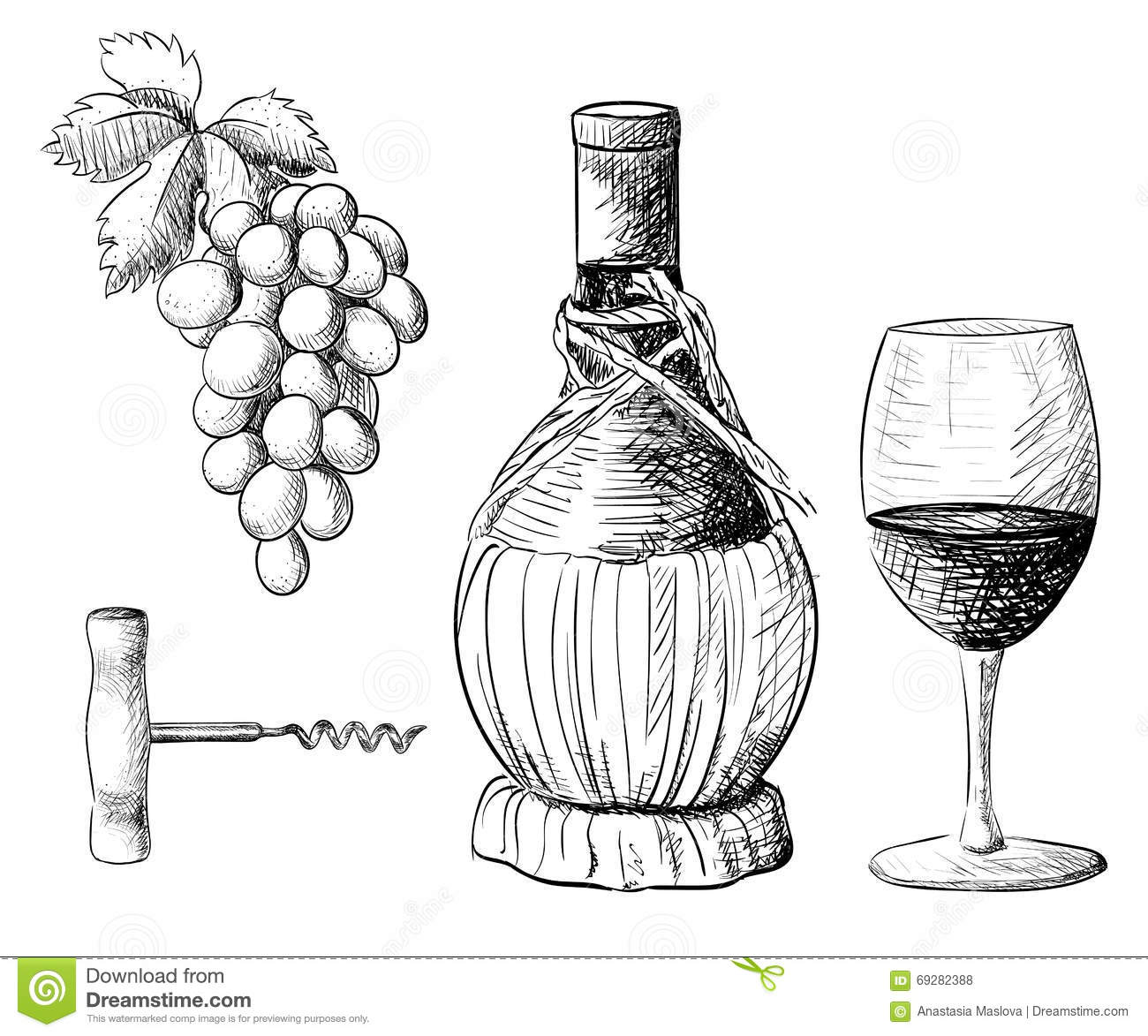 Wine and grapes drawing the image kid for How to draw on wine glasses