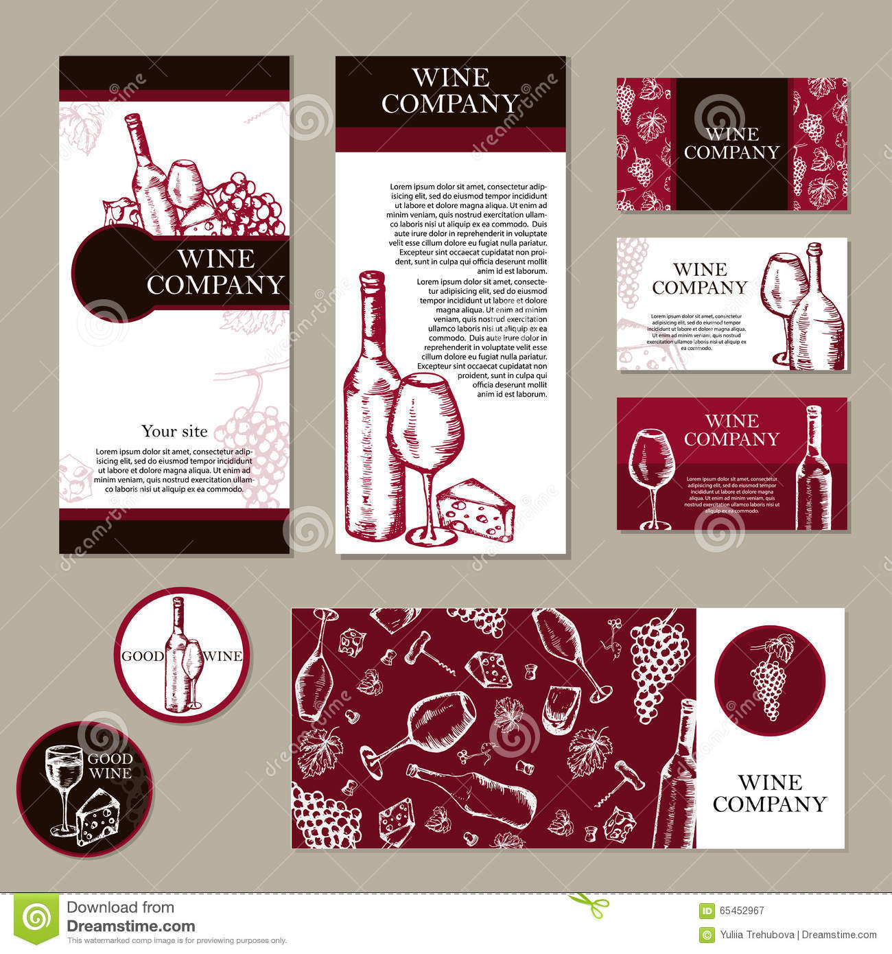 Wine company restaurant theme corporate identity