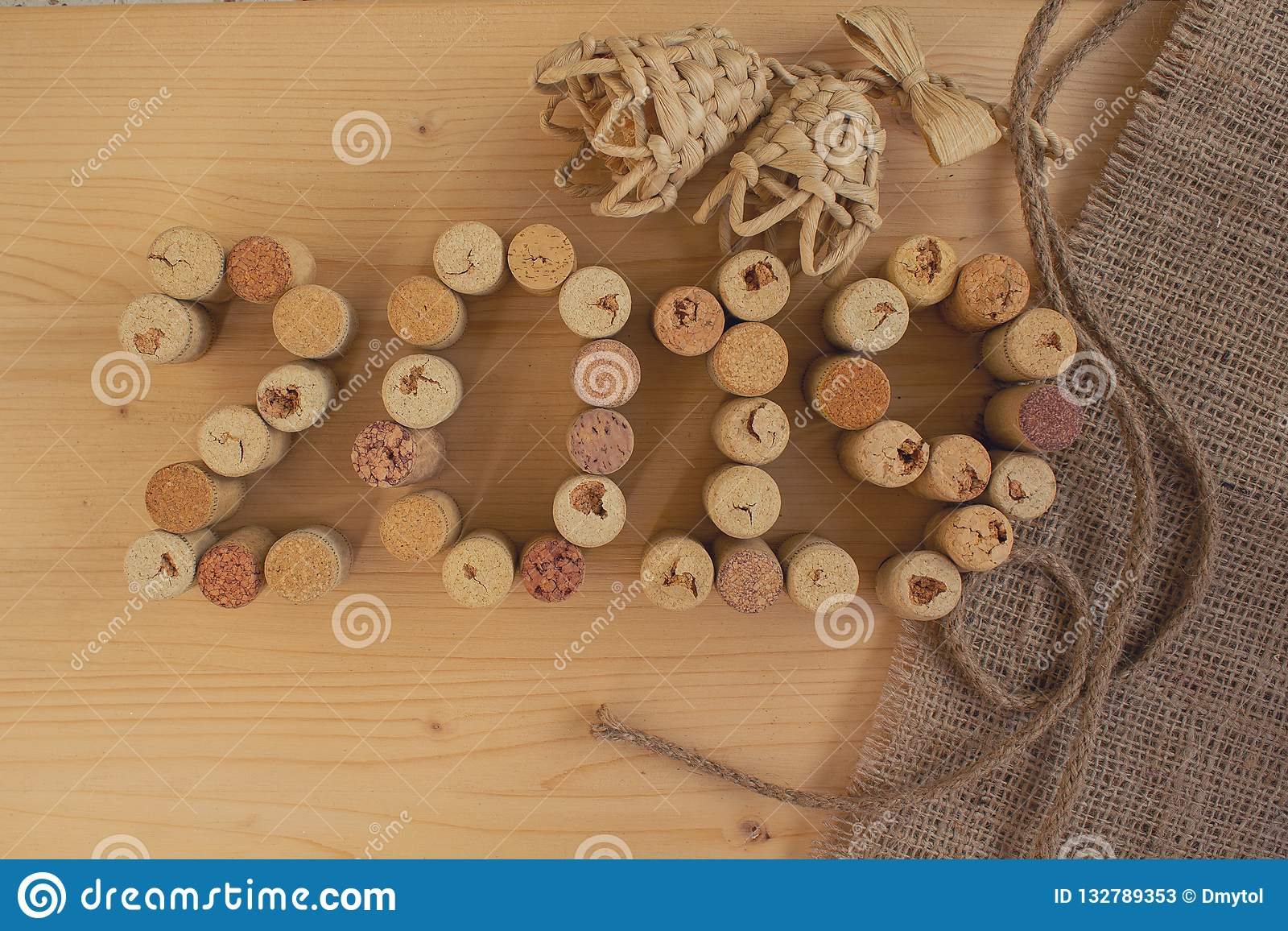 Wine Corks Closeup 2019. New Year Stock Image - Image of ...